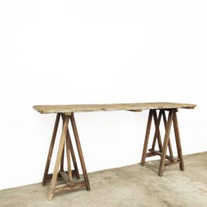 Bureau-console-treteaux-atelier-meuble-de-metier-bois-patine-ancien