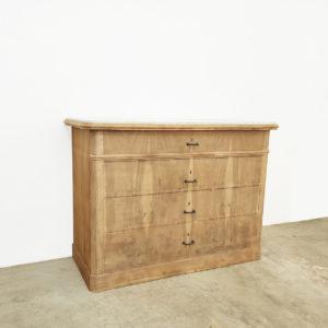 Commode-Marbre-Blanc-Atelier-Vintage-Meuble-de-Métier-Bois-Brut